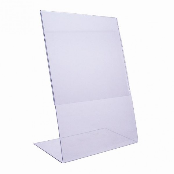 Porte visuel inclin format a5 signamedia for Vitrine plastique transparent