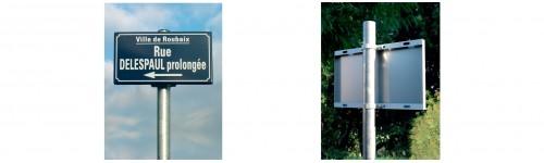 Kits tube ANODISE ARGENT pour panneau de rue